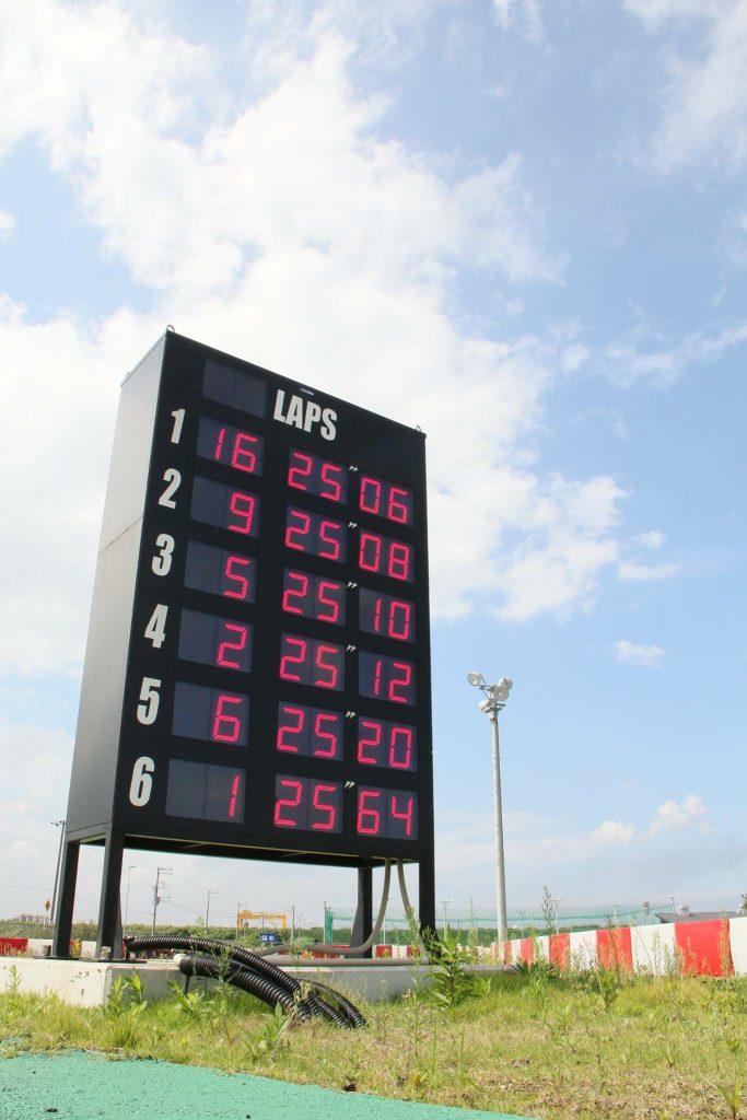 Sodi木更津CUPの予選結果が表示される電光掲示板