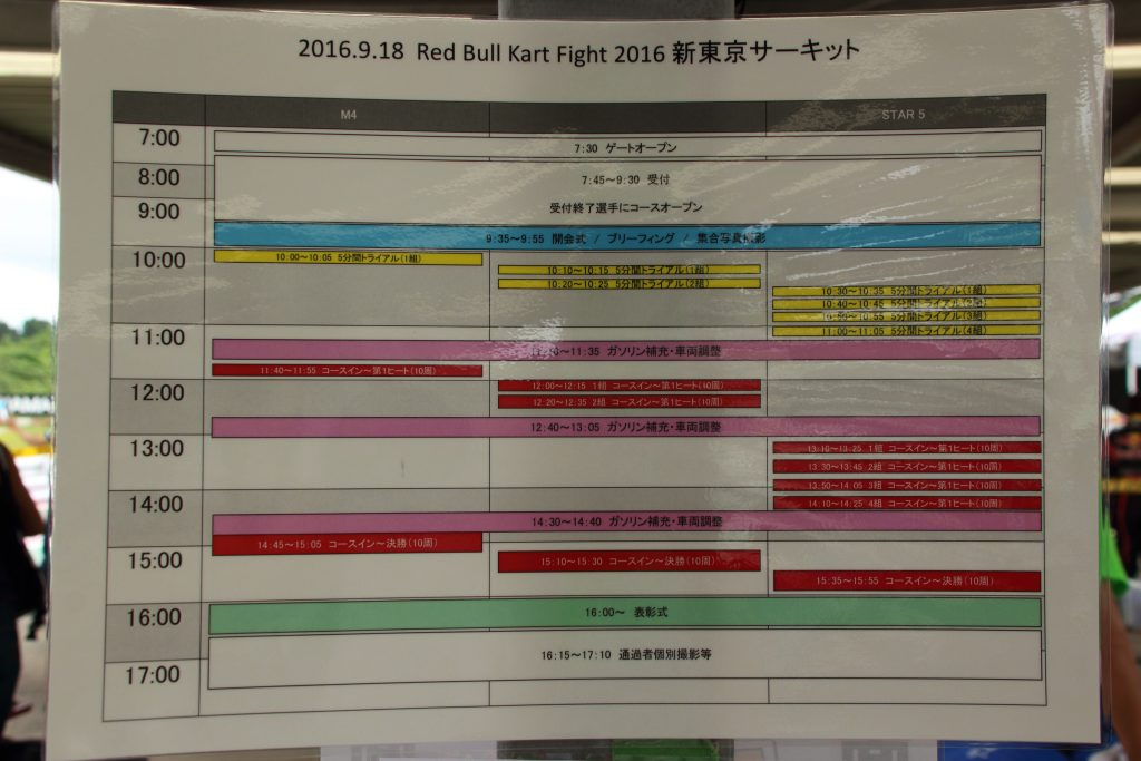 RBKF二次予選タイムスケジュール