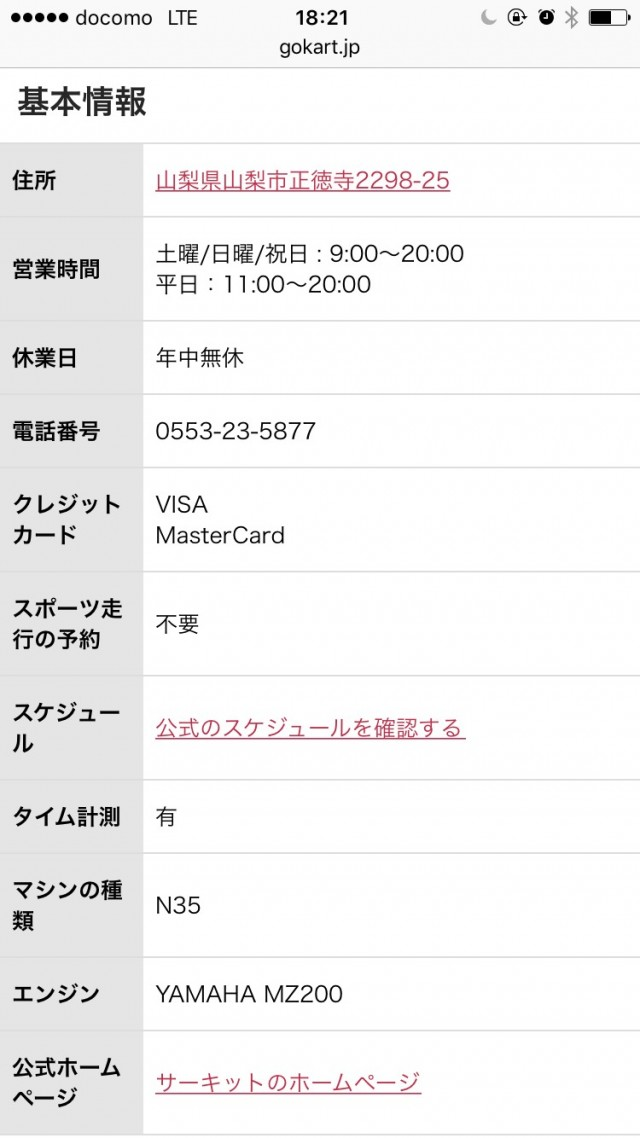 Go!KART!のサーキットページの基本情報